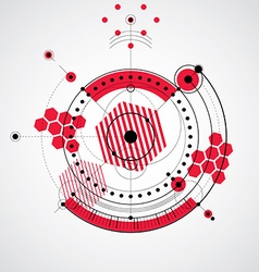 Mechanical scheme red engineering drawing with vector image