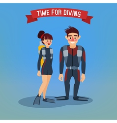 Man and woman divers time for diving travel banner vector