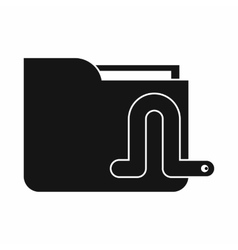Computer worm icon simple style vector