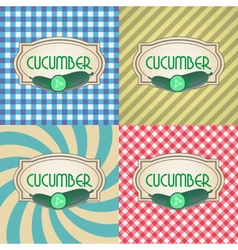 Four types of retro textured labels for cucumber vector