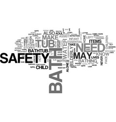 Bath safety text word cloud concept vector