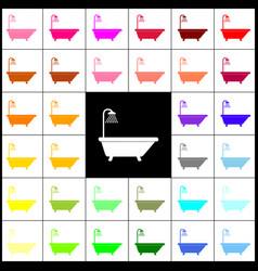 Bathtub sign felt-pen 33 colorful icons vector