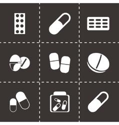 black pills icons set vector image
