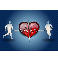 blue runners with the heart symbol vector image vector image