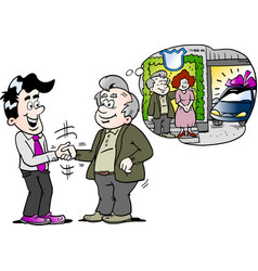 Cartoon of a old man there have buy a new auto car vector
