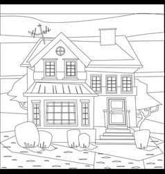 Catroon house building coloring vector