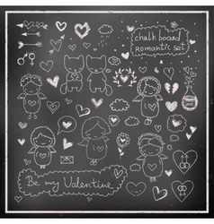 Chalk board romantic set in vector