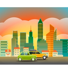 Cityscape with the glass pin city trafic vector