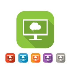 Color set of flat computer chat icon vector