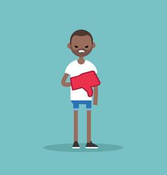 dislike concept displeased black man wearing foam vector image