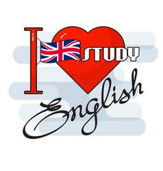 English language concept flag heart an vector