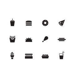 Fast food icons on white background vector image