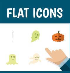 flat icon halloween set of skeleton phantom vector image vector image
