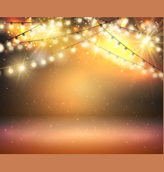 gold shine garland greeting background with vector image vector image