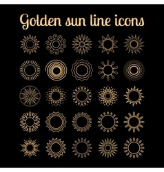 Golden sun thin line icons set vector image vector image