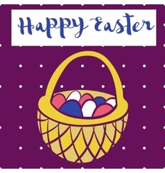 Happy easter poster bascet wiith eggs Card for vector image vector image