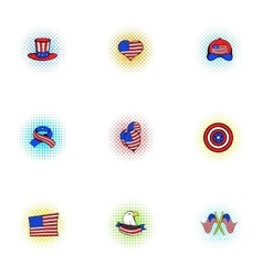 Independence day of usa icons set pop-art style vector