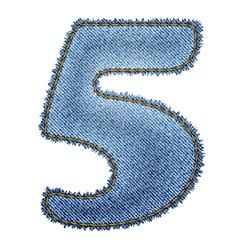Jeans alphabet Denim number 5 vector image vector image