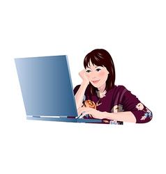 Laptop woman vector