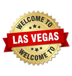 Las vegas 3d gold badge with red ribbon vector