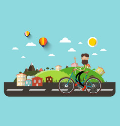 Man on bicycle with flat design abstract vector