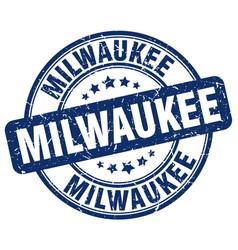 Milwaukee blue grunge round vintage rubber stamp vector