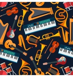 Musical seamless pattern with instruments vector image vector image
