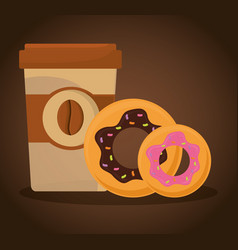 Paper coffee cup donuts food vector