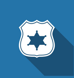 Police badge flat icon with long shadow vector