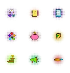 Profit icons set pop-art style vector