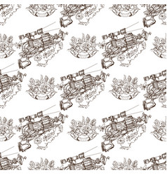 Seamless pattern from outline drawings of arms in vector