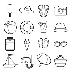 Set of icons beach theme black and white flat vector