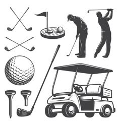 Set of vintage golf elements vector