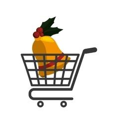 Shopping cart of Merry Christmas design vector image