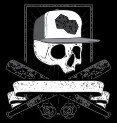 Skull with cap vector