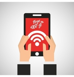 Smartphone internet free wifi icon vector
