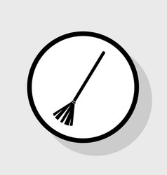 Sweeping broom sign flat black icon in vector