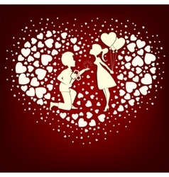The design of a set hearts in love boy and girl vector