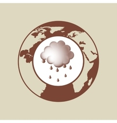 Weather forecast globe rain cloud icon graphic vector
