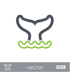 Whale tail outline icon summer vacation vector
