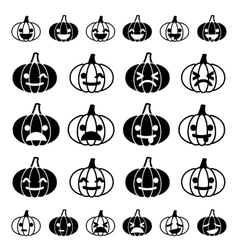 Glyph emoji pumpkin icon set vector