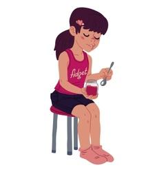 Girl eating jam vector image