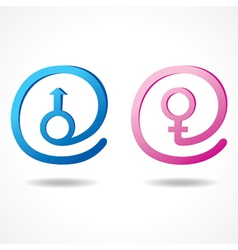 Male and female symbol inside the message icon vector