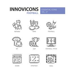 Football - modern color single line icons vector