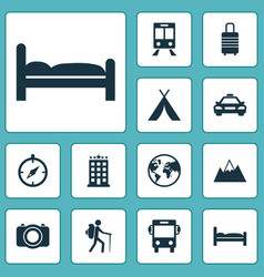 Journey icons set collection of camera building vector