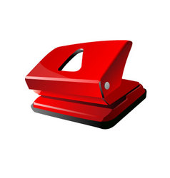Red office hole puncher vector