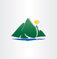 Mountain lake sun symbol vector
