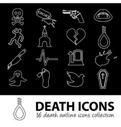 Death outline icons vector