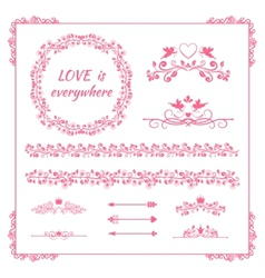 Pink floral element for wedding or birthday vector image