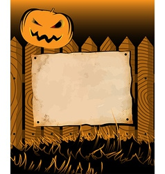 Halloween frame with poster and pumpkin vector image